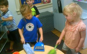 Cleaning fun in Dramatic Play
