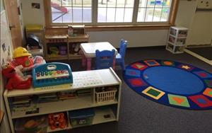 Our circle time area in the toddler classroom!