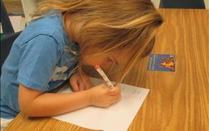 Writing starts early at Lincoln Park KinderCare!  Children as young three years old are encouraged to incorporate writing into their daily activities.