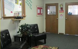 Hallway to Infants and Toddler Classrooms.  This is also our seating area for the guests and families.