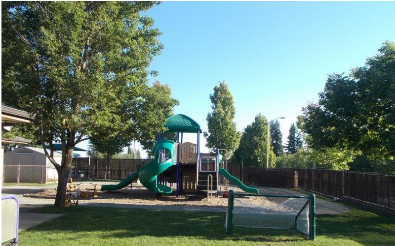 We have multiple playgrounds that serve the specific needs of each age group. This playground is used by our Preschool and PreKindergarten children.