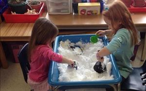 Children enjoy playing in the snow INSIDE!