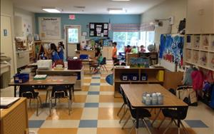 Our Kindergarten Program and School-Age Program share a Classroom.