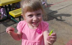 In another Take it Outdoor activity children looked for caterpillars that were hidden on the playground.
