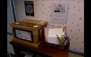 Mail Center: Parents can drop a note in the box for their child and it will be delivered that day to them.  The children love this and watch everyday for a note or letter from their parent to be brought to their class that day.