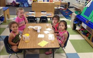 Family style dining is an important part of our children's day. You will find family style dining in all of our classrooms. Family style dining helps support each child's independence and their social skills.