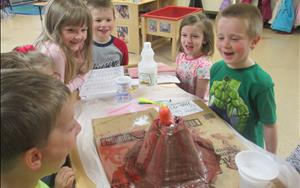 Our prekindergarteners created a live volcano!