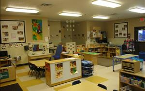 Here is another angle of the Preschool Classroom. All of the bathrooms are located within the classrooms. The doors are low, so children can go independently, but teachers are able to help if needed.