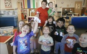 "Ms. Natasha had a ""snowball"" fight with our Pre-K kids!"