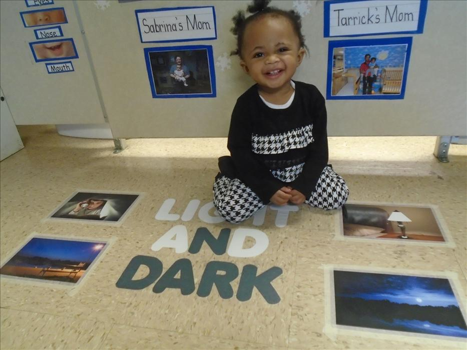 "Infant Classroom - Saying ""Cheese"" and learning about Light and Dark"