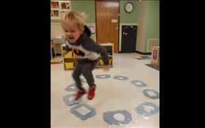 Discovery Preschoolers love learning through play! Cloud hop is a fun way to learn shapes and also helps to develop gross motor skills.