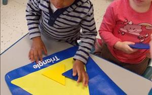 Sorting shapes in Toddlers.