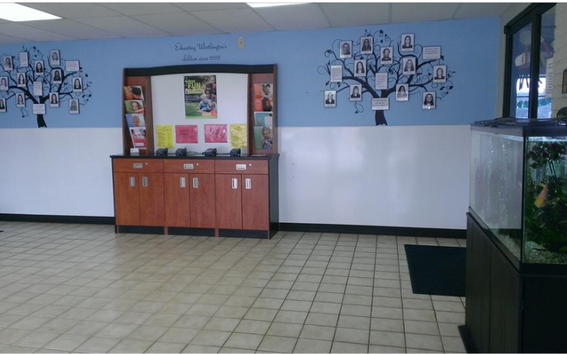 Just beyond our front doors, you will find the main lobby where can access the main office to speak to a member of our adminstrative team or enter the east or west hallway leading to your child's classroom.