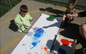 Discovery Preschool Painting with Fly Swatters