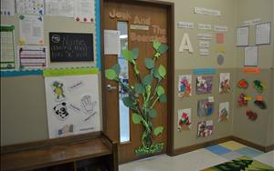 The door to the never ending fun learning environment. The Preschool Classroom is waiting for you!