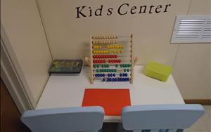 This is our Kids Center, available for children at drop off and pick up.