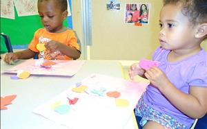 Toddler activities - making an art collage to help build creative expression.