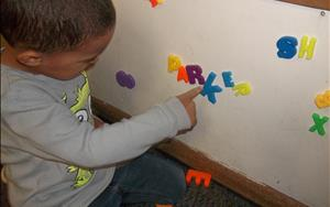 Preschool Classroom - Using magnets to write our name