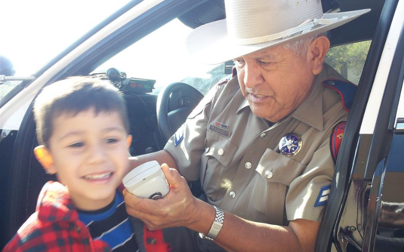 One of our children meets with a police officer.
