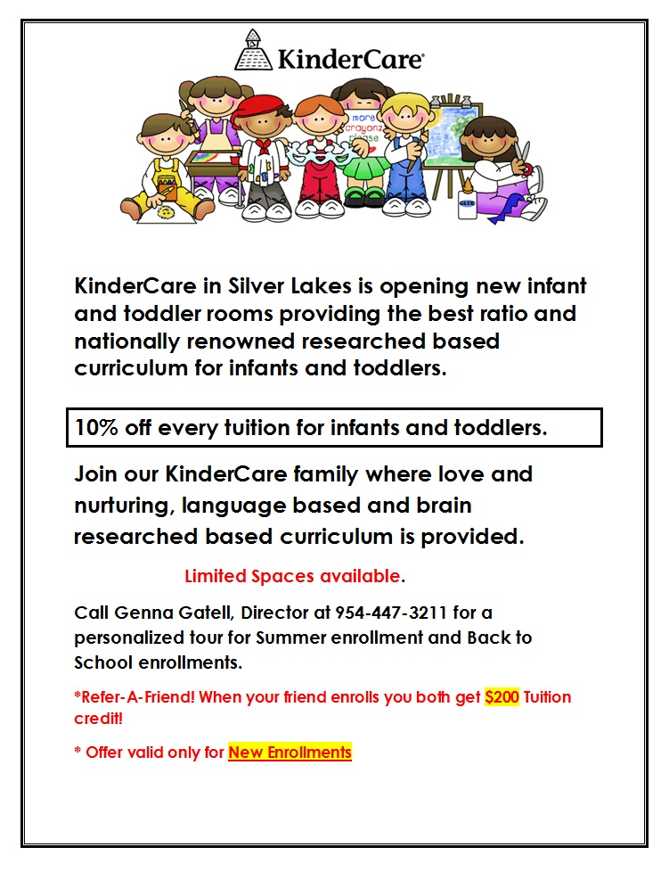 KinderCare in Silverlakes is opening new infant and toddler rooms providing the best ratio and nationally renowned researched based curriculum for infants and toddlers. Join our KinderCare family!
