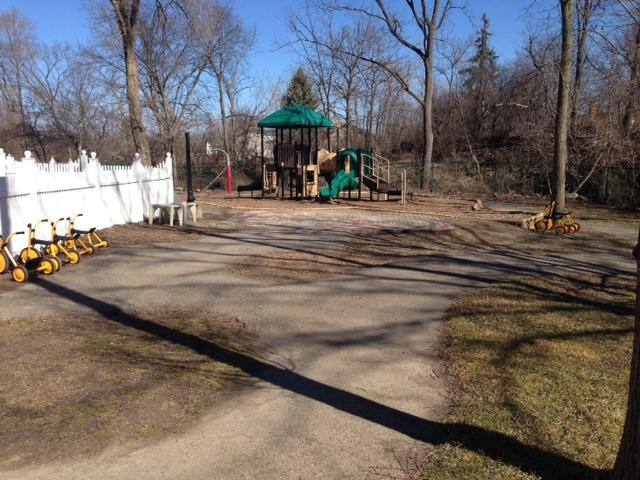 The large playground where the children have plenty of room to run and play!