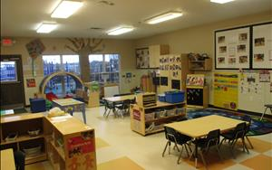 This is our Preschool Classroom. This room is reserved for our three year olds. There are many different learning centers for children to visit throughout the day.