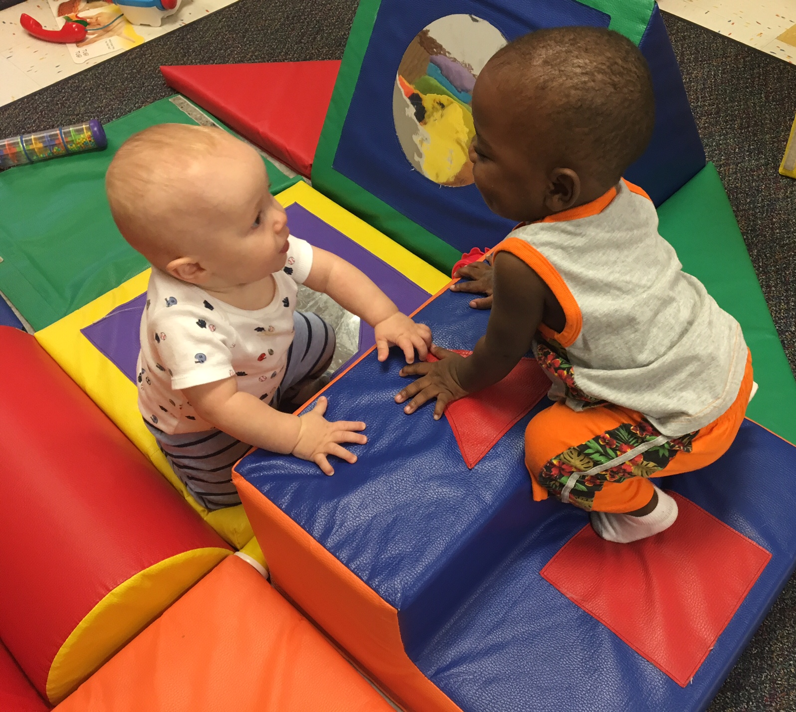 Jack and Brayden are playing together nicely which is helping to develop their social and emotional development.