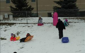 Winter sledding fun outside!