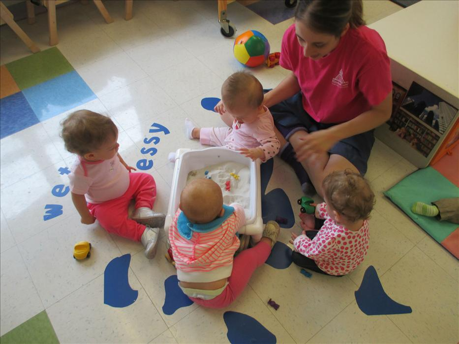 The babies are learning through sensory play!