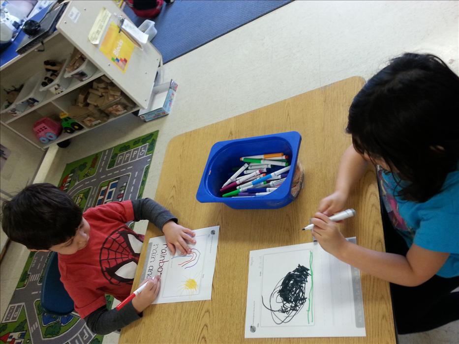 Early writing and letter recognition skills are covered in our preschool classroom