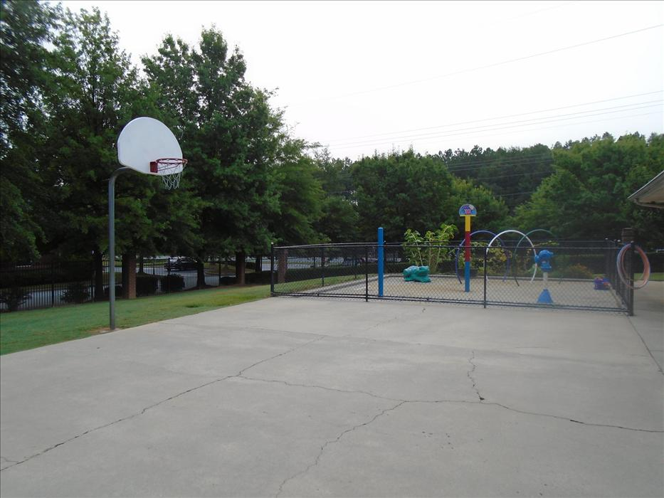 This is our basketball court, splash park and our field.