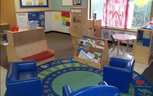 The children love to spend time in the cozy and spacious library area.  Many children will choose to relax here throughout the day.  The libary is also one of our learning centers and new books are added to the library every week for the children to explore.  The children also have access to our dramatic play area which is changed every two weeks into a new and exciting area that relates to the theme.