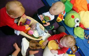 Discovery baskets allows babies to explore different items based on their learning theme! Here they are exploring Everything Baby!