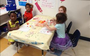 During this unit the preschoolers were learning about safety. At their creative arts table the children were creating 