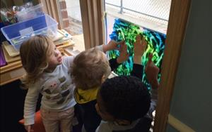 Creative arts are a great way for children to express themselves and explore different feelings and ideas. Our preschool teachers take time every day to have the children paint, move and sing!