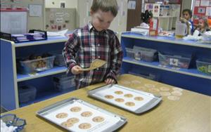 "Play is the brain's favorite ways to learn and we sure make learning fun! Our Preschool classrooms were ""baking cookies!"" These special cookies had uppercase and lowercase letters on top of them and the children were encouraged to match the uppercase letters with the lowercase letters! What a fun way to practice literacy skills!"