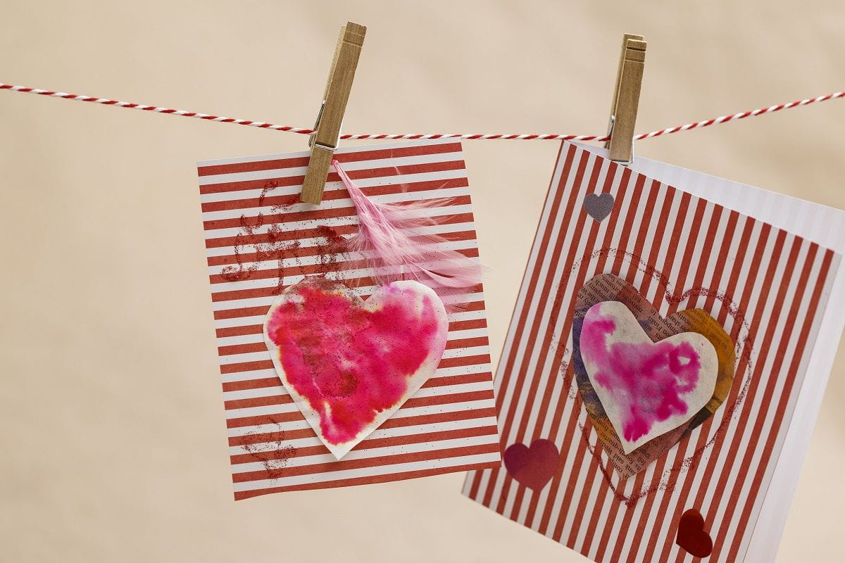 heart cards hung up on a line