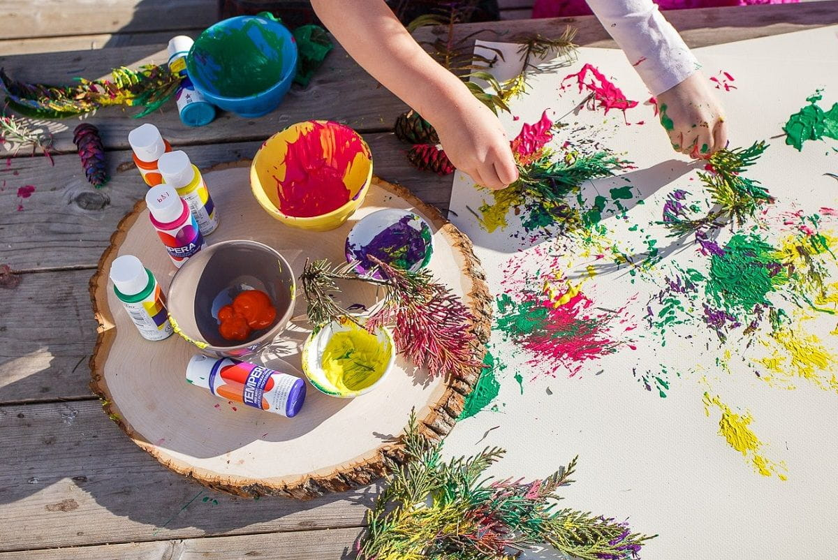 colorful paint splatters from natural brushes