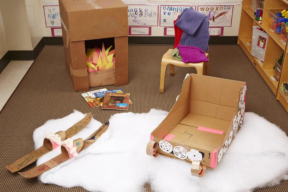 The Diy Cardboard Sled Make A Pretend Play Ski Lodge At Home