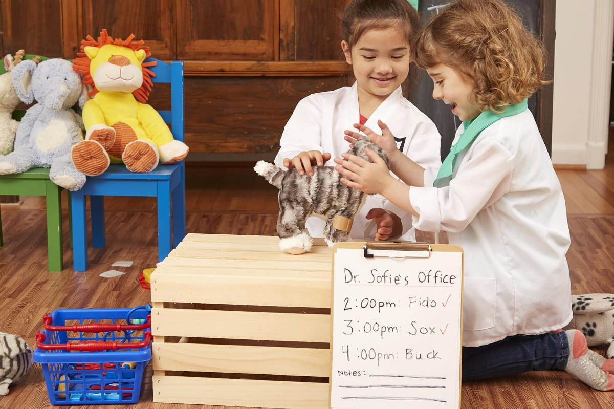 2 girls pretend play veterinarian clinic