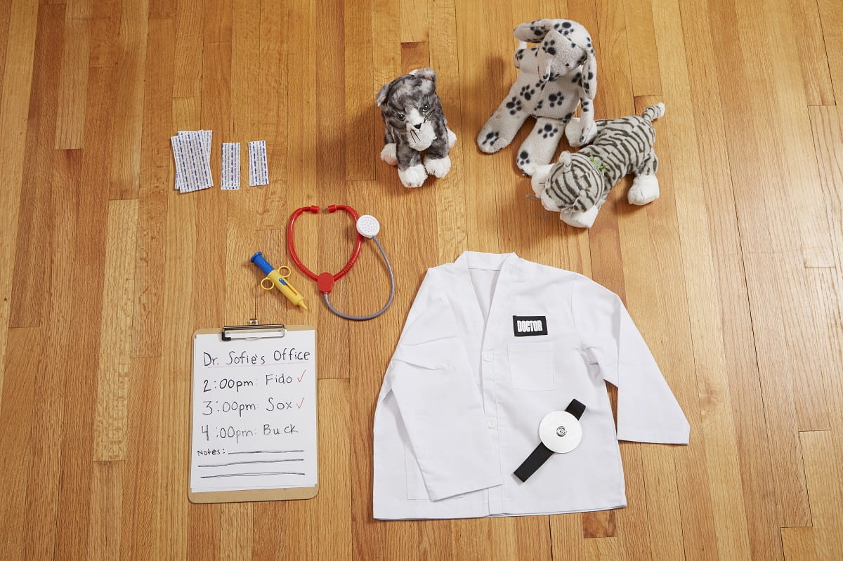Materials for Veterianrian Clinic Pretend Play - Lab coat, stethoscope, stuffed animals, band aids