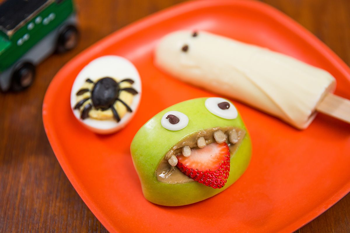 spider eggs monster mouths banana ghosts on a plate