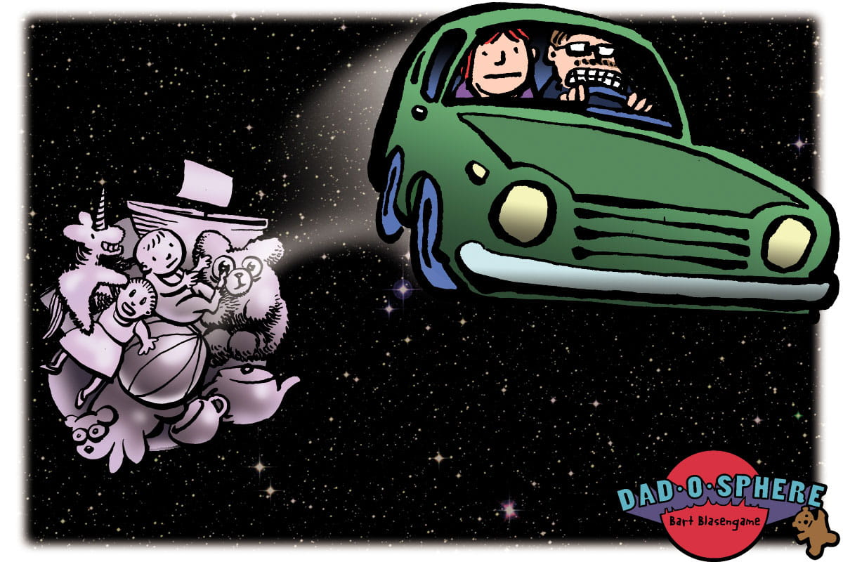 Illustration of parents driving off in car in outerspace